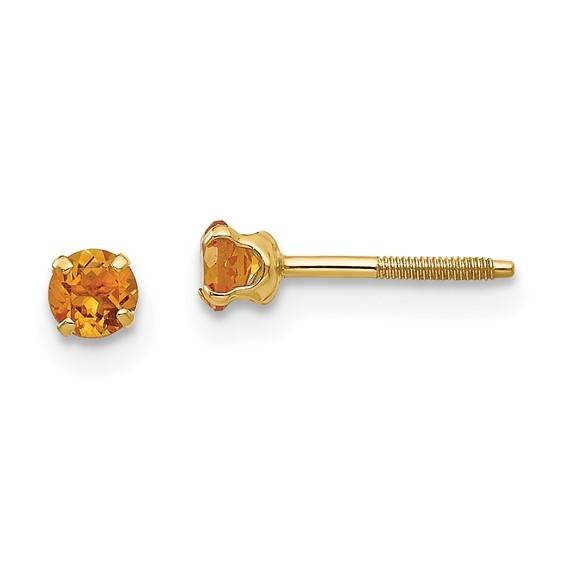 14kt Yellow Gold Madi K 3mm Citrine Birthstone Earrings