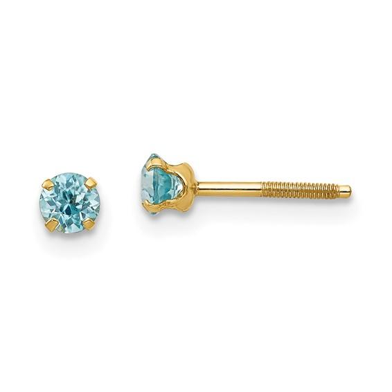 14kt Yellow Gold Madi K 3mm Blue Zircon Earrings