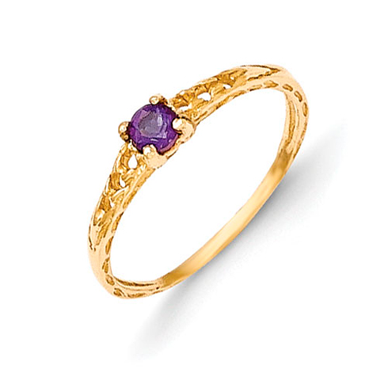 14kt Yellow Gold Madi K 3mm Amethyst Birthstone Baby Ring