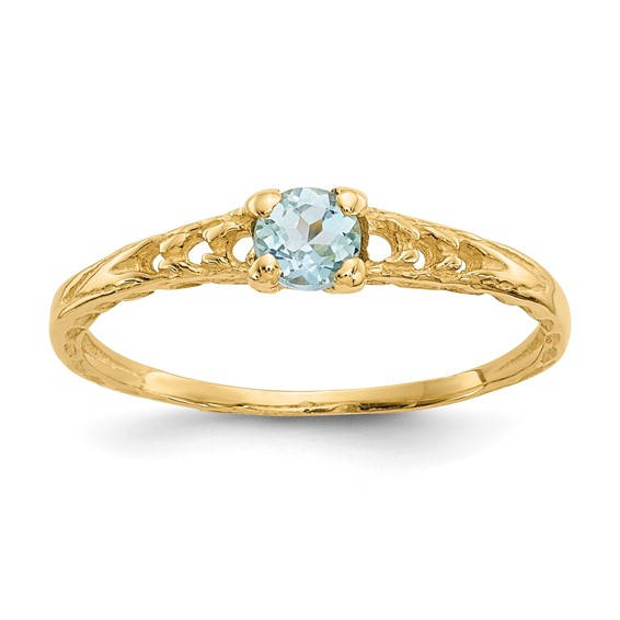 14kt Yellow Gold Madi K 3mm Aquamarine Birthstone Baby Ring