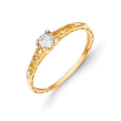 14kt Yellow Gold Madi K 3mm White Topaz Birthstone Baby Ring