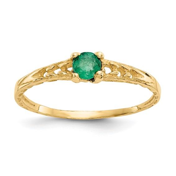14kt Yellow Gold Madi K 3mm Emerald Birthstone Baby Ring