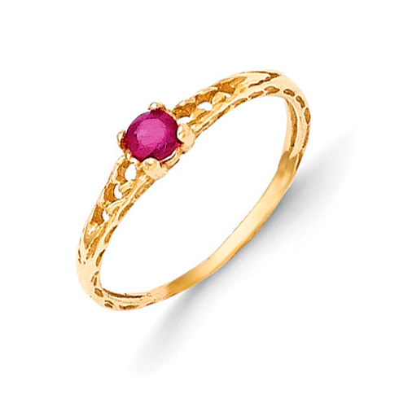 14kt Yellow Gold Madi K 3mm Ruby Birthstone Baby Ring