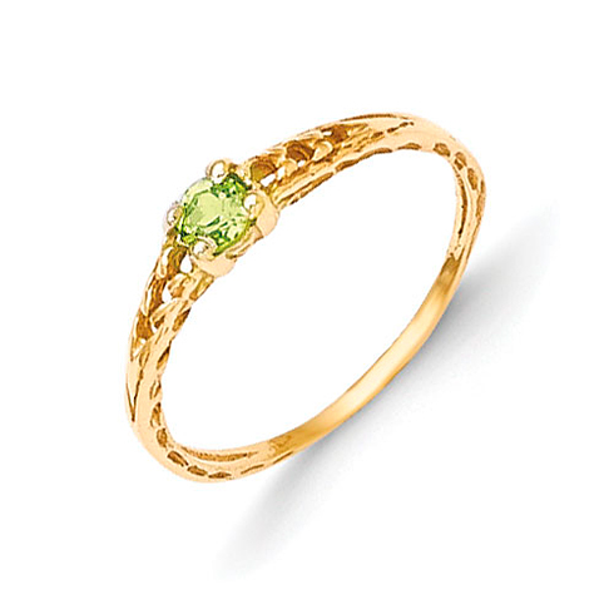 14kt Yellow Gold Madi K 3mm Peridot Birthstone Baby Ring