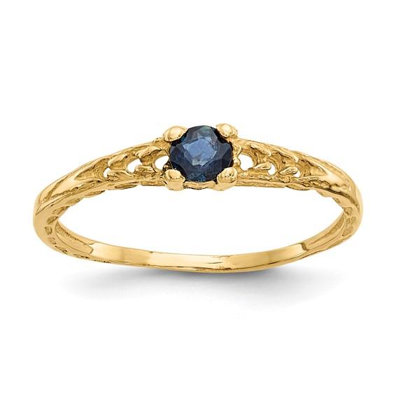 14kt Yellow Gold Madi K 3mm Sapphire Birthstone Baby Ring