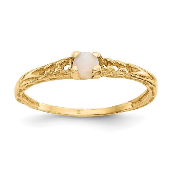 14kt Yellow Gold Madi K 3mm Opal Birthstone Baby Ring