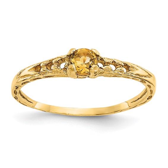 14kt Yellow Gold Madi K 3mm Citrine Birthstone Baby Ring