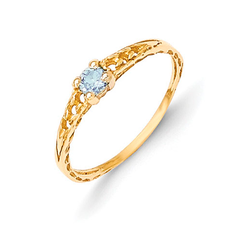 14kt Yellow Gold Madi K 3mm Blue Zircon Birthstone Baby Ring