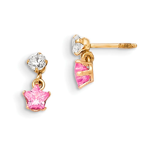 14kt Yellow Gold Madi K 3mm CZ with Dangling Pink CZ Star Earrings