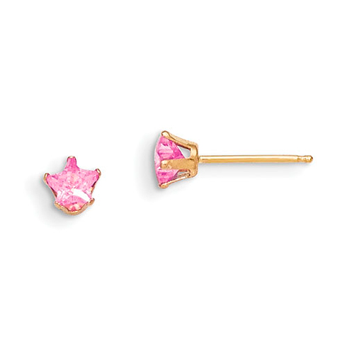 14kt Yellow Gold Madi K 4mm Pink CZ Star Earrings
