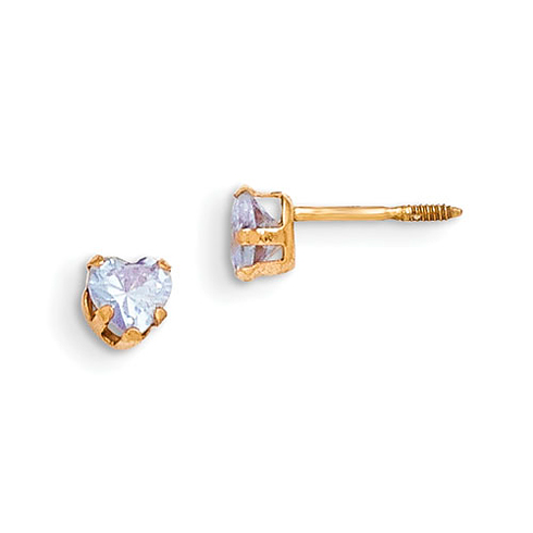 14kt Yellow Gold Madi K 4mm Violet Colored CZ Heart Earrings