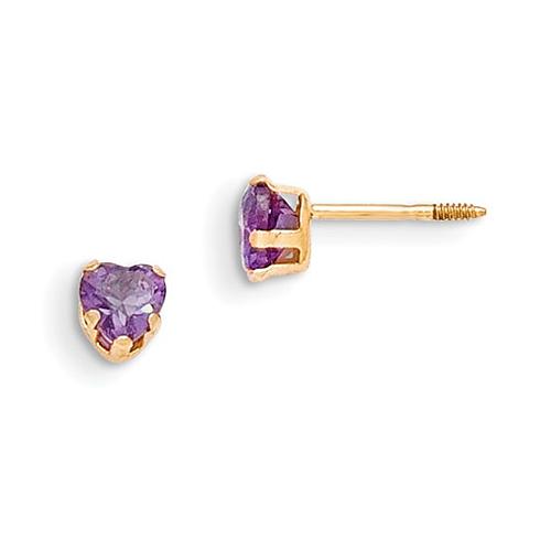 14kt Yellow Gold Madi K 4mm Amethyst Heart Earrings