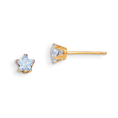 14kt Yellow Gold Madi K 4mm Violet Colored CZ Star Earrings