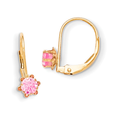 14kt Yellow Gold Madi K Leverback 3mm Pink CZ Earrings