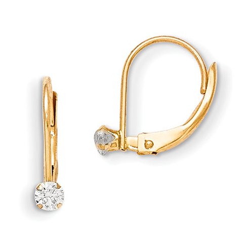 14kt Yellow Gold Madi K Leverback 3mm CZ Earrings