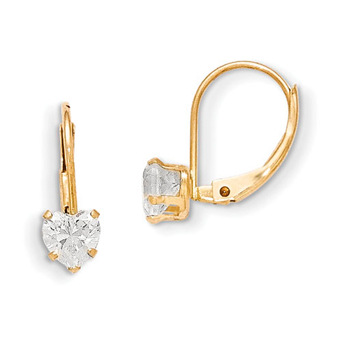 14kt Yellow Gold Madi K Leverback 4mm Heart CZ Earrings