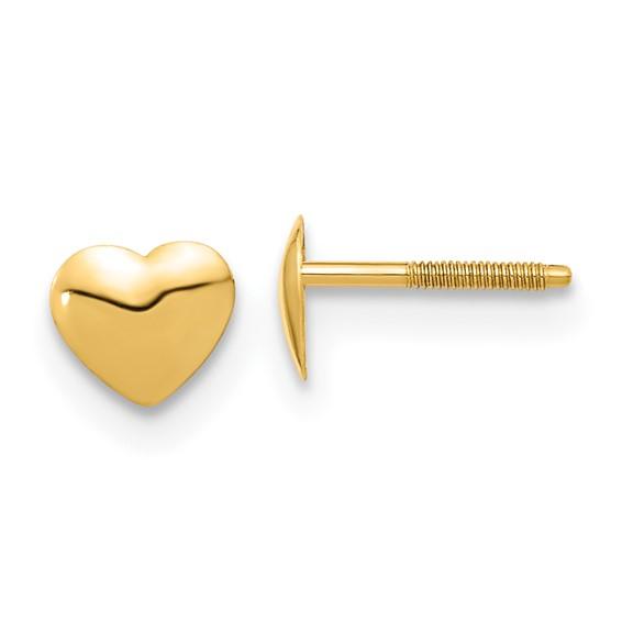 14kt Yellow Gold Madi K Heart Screwback Earrings