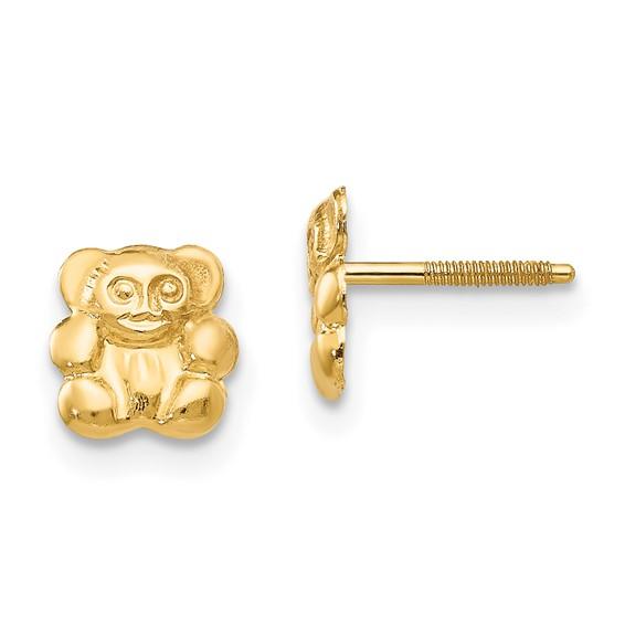 14kt Yellow Gold Madi K Teddy Bear Screwback Earrings