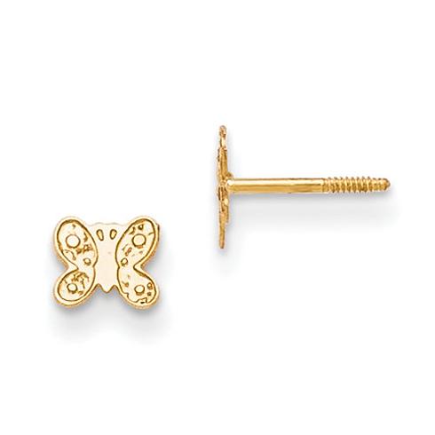 14kt Yellow Gold Madi K Butterfly Screwback Earrings