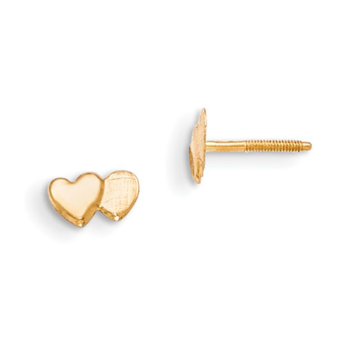 14kt Yellow Gold Madi K Double Heart Earrings