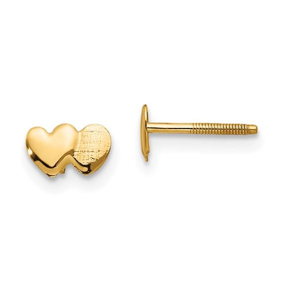 14kt Yellow Gold Madi K Double Heart Earrings