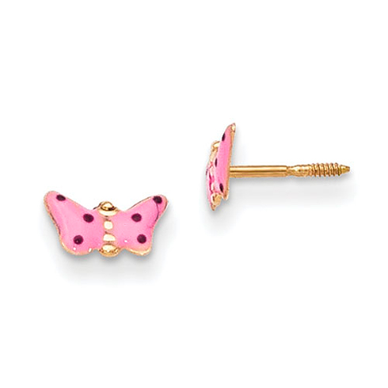 14kt Yellow Gold Madi K Pink Enameled Butterfly Earrings