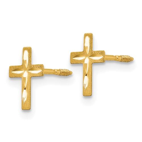 14kt Yellow Gold Madi K Diamond-cut Mini Cross Earrings