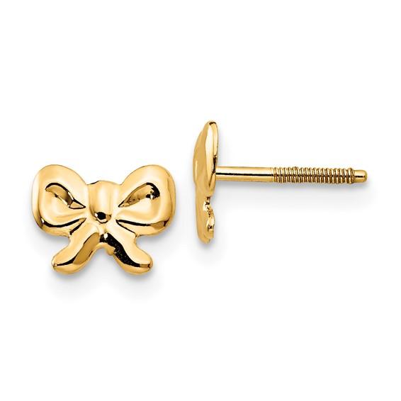 14kt Yellow Gold Madi K Bows Screwback Earrings