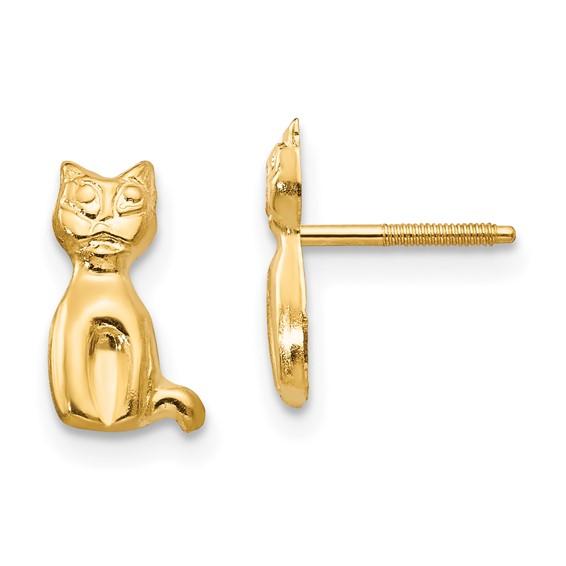 Kid's 14kt Yellow Gold Madi K Cat Earrings