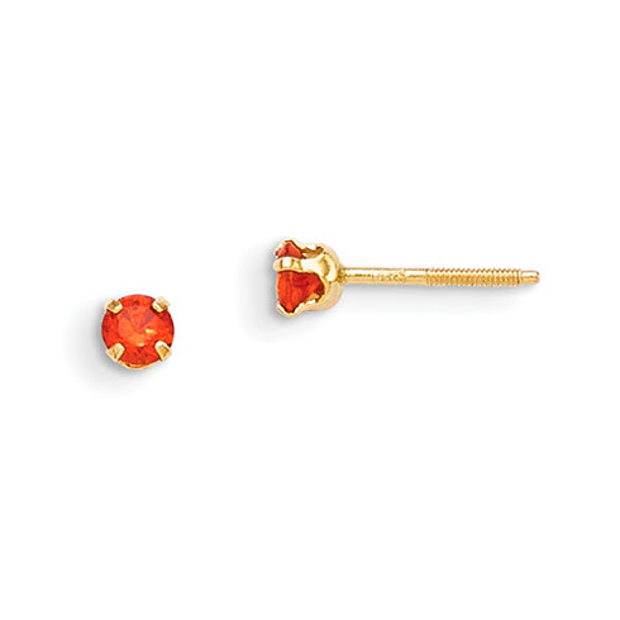 14kt Yellow Gold Madi K 3mm Synthetic Garnet Earrings