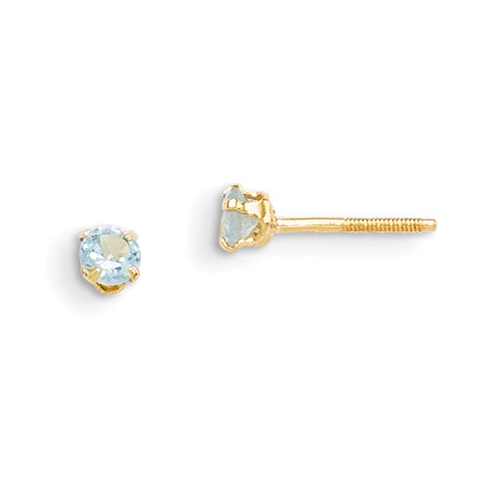 14kt Yellow Gold Madi K 3mm Synthetic Aquamarine Birthstone Earrings