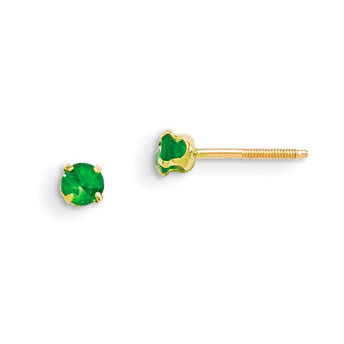 Madi K 3mm Synthetic Emerald Stud Earrings 14k Yellow Gold