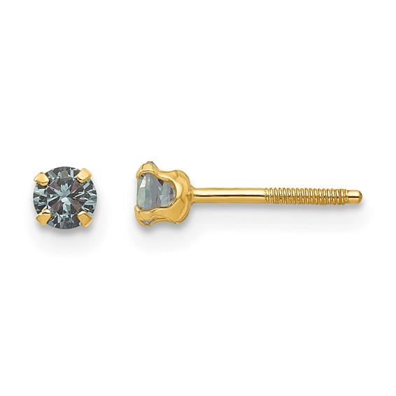 14kt Yellow Gold Madi K 3mm Synthetic Alexandrite Birthstone Earrings