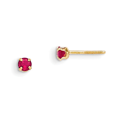 14kt Yellow Gold Madi K 3mm Synthetic Ruby Birthstone Earrings