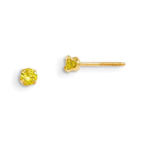 14kt Yellow Gold Madi K 3mm Synthetic Citrine Earrings