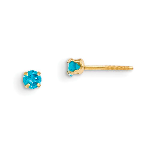 14kt Yellow Gold Madi K 3mm Synthetic Blue Zircon Birthstone Earrings