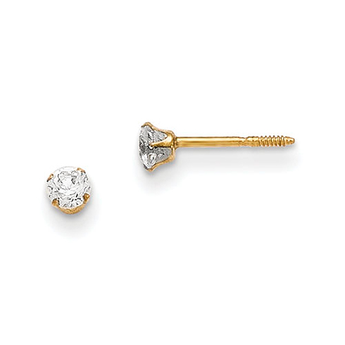 14kt Yellow Gold Madi K 3mm CZ Earrings