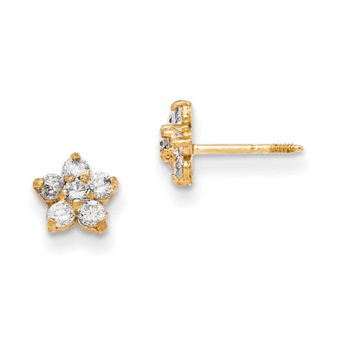 14kt Yellow Gold Madi K Marquise CZ Star Earrings