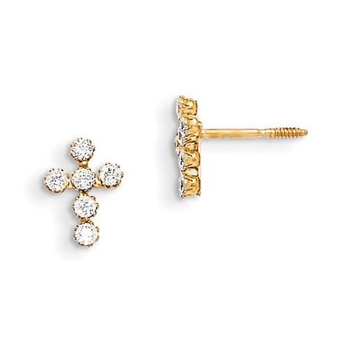 14kt Yellow Gold Madi K Mini CZ Cross Earrings