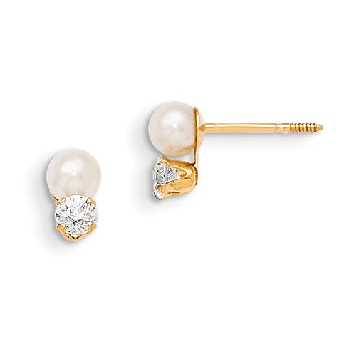 14kt Yellow Gold Madi K 3.8mm Cultured Pearl and CZ Earrings
