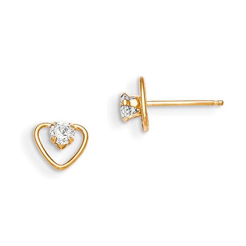 14kt Yellow Gold Madi K CZ Heart Earrings