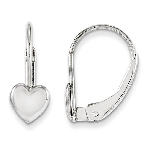 14kt White Gold Madi K Leverback Heart Earrings