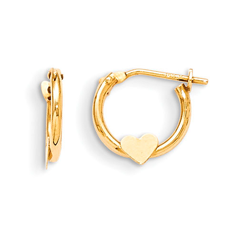 14kt Yellow Gold Madi K Heart Hoop Earrings