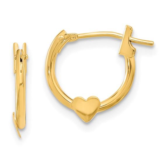 14kt Yellow Gold Madi K Heart Hoop Earrings