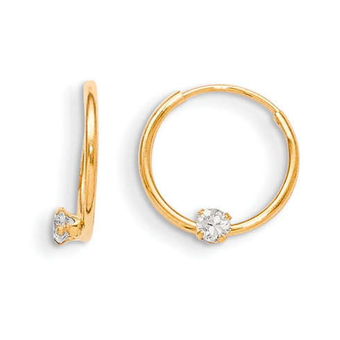 14kt Yellow Gold Madi K Endless CZ Hoop Earrings