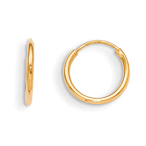 Kid's 14kt Yellow Gold 3/8in Madi K Endless Hoop Earrings
