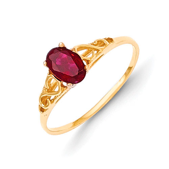 14kt Yellow Gold Madi K Synthetic Garnet Ring