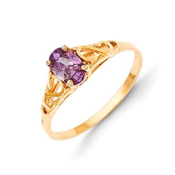 14kt Yellow Gold Madi K Synthetic Amethyst Ring
