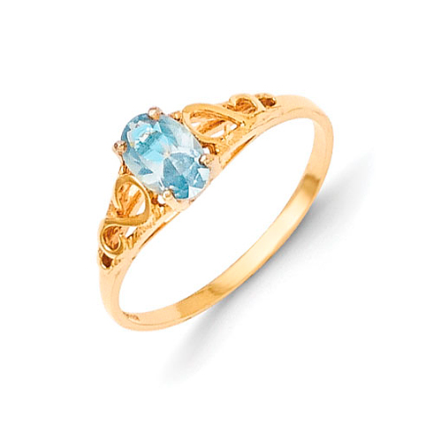 14kt Yellow Gold Madi K Synthetic Aquamarine Ring