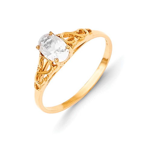 14kt Yellow Gold Madi K Synthetic White Spinel Ring